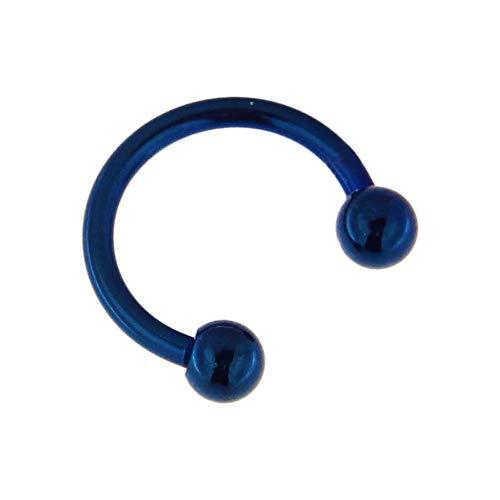 Monster Piercing 16 Gauge - 8MM Durchmesser blau eloxiert 316L Chirurgenstahl CBB Hufeisen Septum mit Kugelnasenring Piercingschmuck