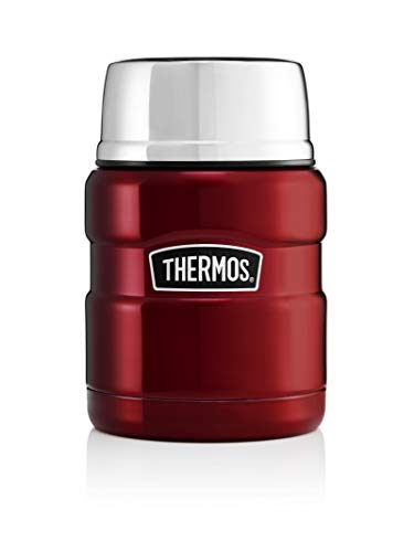 Thermos Stainless King Food Flask, Gun Metal, 470ml, Acciaio Inossidabile, Cranberry Red,...