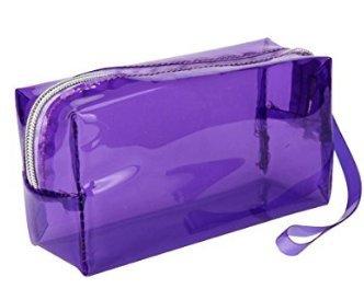 Yolandabecool Estuche de lápices transparente grande azul caramelo color 19.5 * 6 * 9cm (Púrpura)