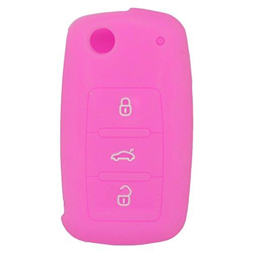 fassport-silicone-cover-skin-jacket-for-volkswagen-skoda-seat-3-button-flip-remote-key-cv2801-pink
