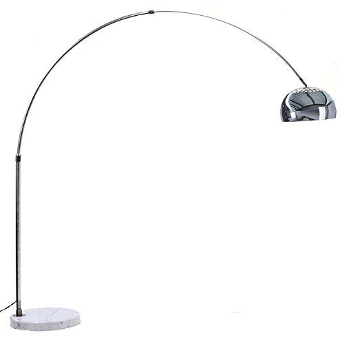Lampada ad Arco in Alluminio con Base Rotonda in Marmo Bianco - Lampada da  Terra con Struttura in Alluminio Cromato - Dimensioni Lampada Montata (220  ...
