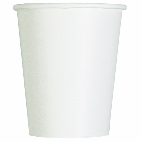 White Paper Cups (Unique Party Pappbecher,weiß, 270 ml,14er Packung)