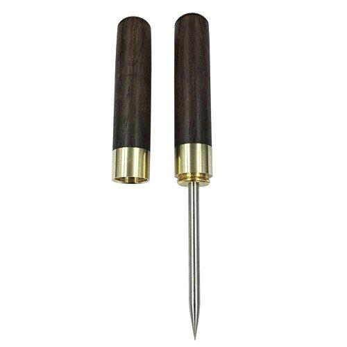 Eispickel aus Edelstahl mit Griff und Abdeckung aus schwarzem Sandelholz