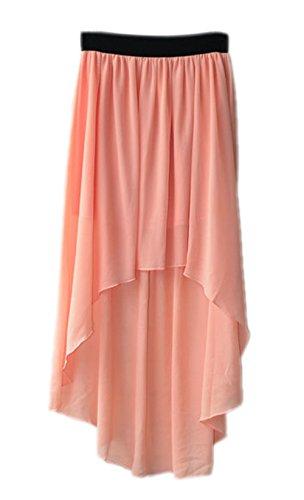Honeystore Damen's Elegant Rock A-Linie Asymmetrisch Cocktail Chiffon Abendrock Rosa One Size