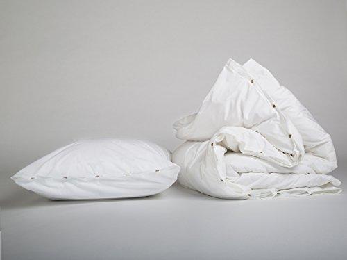 Yumeko Bettwäsche - Bettwäscheset - Perkal Baumwolle - 155x220 cm - Kissenbezug 80x80 cm - Pure White - Weiß - fest, glatt & knisternd - 100% biologische Baumwolle - ökologisch - atmungsaktiv - Hotelqualität