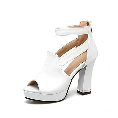 LQXZM Sandales femmes Printemps Été Automne Chaussures Club Nouveauté Confort matériaux sur mesure robe de mariage en similicuir Talon occasionnels noir rouge blanc White