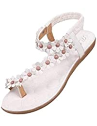 CLEARANCE SALE MEIbax damenmode süß perlenbesetzten clip der wohnungen böhmischen fischgräten - sandalen (42, Khaki)