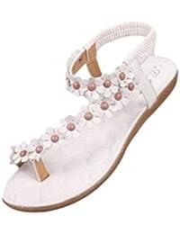 CLEARANCE SALE MEIbax damenmode süße sommer böhmen süß perlenbesetzten sandalen - clip die sandalen strandschuhe fischgräten - sandalen schuhe (35, Weiß)