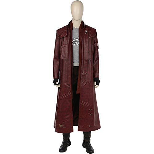 Kostüm Deluxe Star Lord - QWEASZER Marvel Avengers Star-Lord Guardians 1: 1 Kostüm Deluxe Edition Superheld Cosplay Kleidung Verrücktes Kleid Film Kleidung Requisiten Anpassbare Größe,Red-S