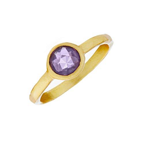 Silverly Frauen Gebürstetes Vergoldetes .925 Sterling Silber Synthetisches Amethyst Stapelbar Ring