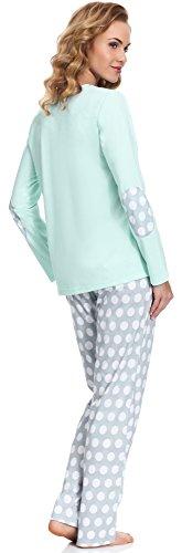 Cornette Damen Schlafanzug Warm Minze