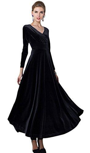 Urbancoco Damen Lange Langarm Abendkleid Maxi V-Ausschnitt Samt Party Kleid (S, schwarz)