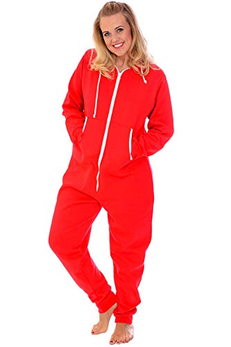 Nouvelle Collection Unisex Hooded Zip Onesie Red M (Strampelanzug Für Frauen Plus Größe)