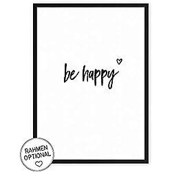 be happy - Kunstdruck auf wunderbarem Hahnemühle Papier DIN A4 -ohne Rahmen- schwarz-weißes Bild Poster zur Deko im Büro/Wohnung / als Geschenk Mitbringsel zum Geburtstag etc.