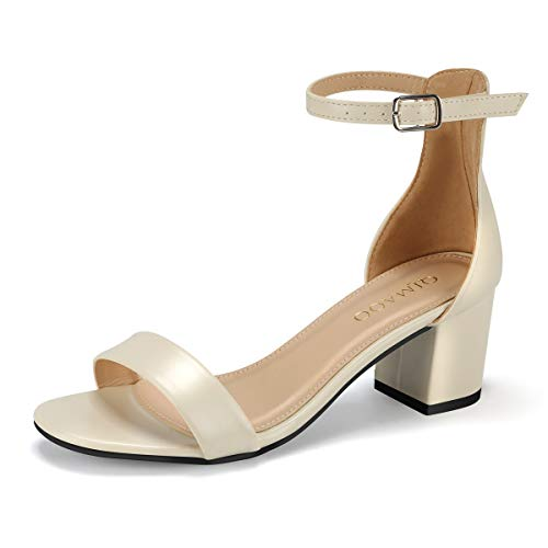 Qimaoo Damen Riemchensandalen 6cm Blockabsatz Sandalen Knöchelriemen Sandaletten Sommer High Heels Schuhe mit Absatz, beige, 39 EU