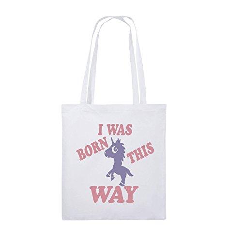 Comedy Bags - I was born this way - EINHORN - Jutebeutel - lange Henkel - 38x42cm - Farbe: Schwarz / Weiss-Neongrün Weiss / Rosa-Violet