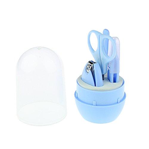 MagiDeal Babypflege Set Baby Nagelpflege Schere Nagelknipser Nagelfeilen Pinzette - blau, 4 Sätze