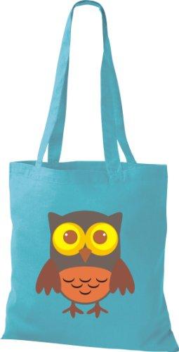 Stoffbeutel Bunte Eule niedliche Tragetasche Owl Retro diverse Farbe hellblau