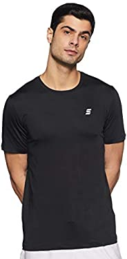Amazon Brand - Symactive Men's Solid Regular Fit Half Sleeve Sports T-S