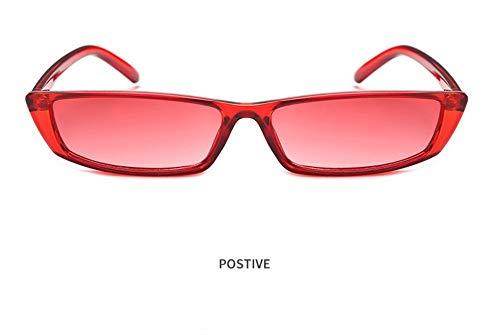 WSKPE Sonnenbrille,Frauen Vintage Mode Sonnenbrille Kleine Rechteckige Rahmen Cat Eye Sonnenbrille Retro Farben Uv400 Dunkel Roten Rahmen,Rote Linse