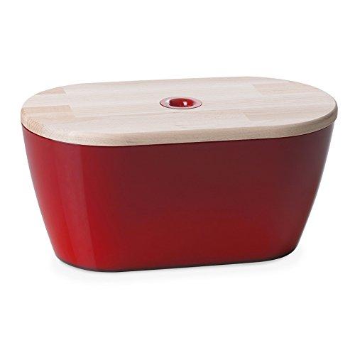 Omada Woody Brotkasten mit Deckel/Schneidebrett aus Buchenholz, 34,5 cm, rot