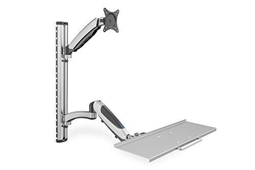 """DIGITUS Flexibler Arbeitsplatz mit Gasdruckfeder, Wandmontage, Displays bis 27\""""/69 cm Diagonale, max. Belastbarkeit je Arm 8 kg, VESA Normabstände 75x75 & 100x100 mm, Tastaturablage"""