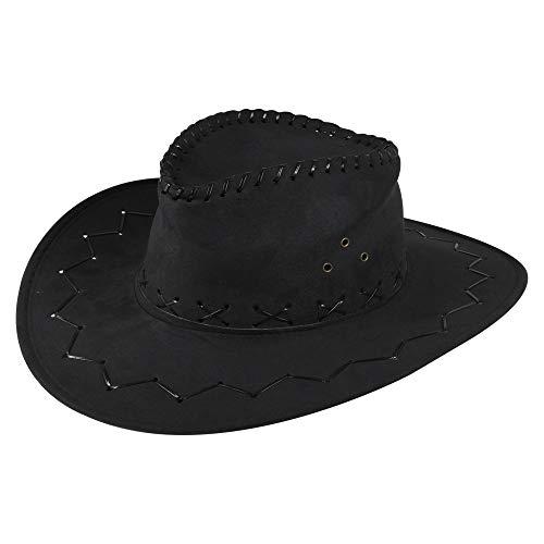 Preisvergleich Produktbild Cowboy Hut Sheriff Fasching Masken Perücke Maske - Zick Zack Muster Schwarz