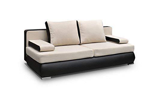 mb-moebel Couch mit Schlaffunktion Sofa Schlafsofa Wohnzimmercouch Bettsofa Ausziehbar - MADAGASKAR (Beige)