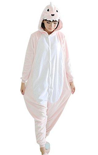 Onesie Flannell Cosplay Kostüm Dinosaurier Cartoon Tier Hauszug für Weihnachten Ostern Hallowee Karneval Winter Sleepwear-Rosa-L (Dinosaurier Weihnachten)