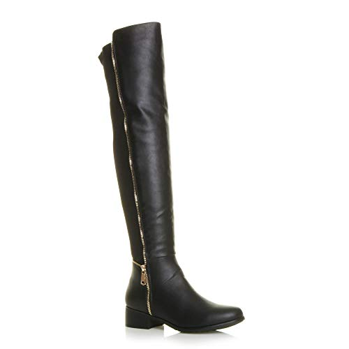 Womens Ladies high Over The Knee Elastic Curvy Stretch Pull on Low Heel Boots Size
