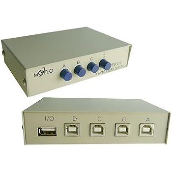KALEA-INFORMATIQUE © - Boitier de partage USB 2.0 / Switch 4 ports - Compatible Imprimantes - BOITIER METAL