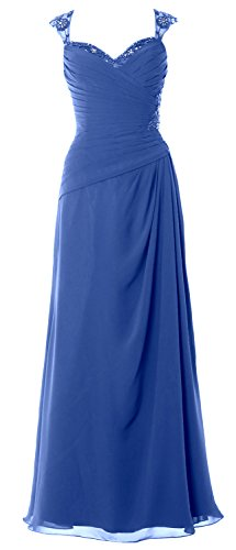 MACloth Women Cap Sleeves Long Mother of Bride Dress Open Back Party Formal Gown Horizon