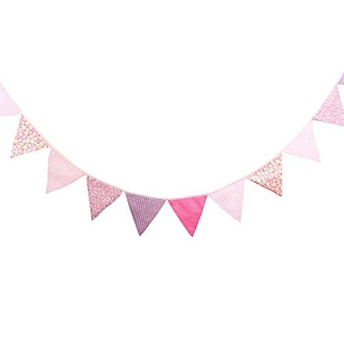 Rosa Dreieck (Gazechimp 3.2m Dreieck Wimpelkette mit 12 Schöne Blumen Flagge , Wimpel Girlande aus Baumwolle für Weihnachten Hochzeit Geburtstag Haus Dekor , 16x16x16cm - Rosa)