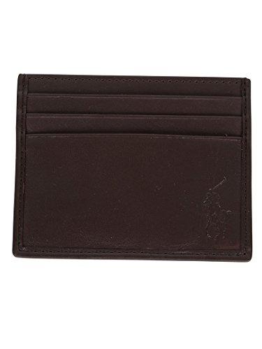 Polo Ralph Lauren Uomo Card Case Logo Portafoglio, Marrone, One Size