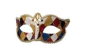 Masque vénitien à carreaux, Noir / Rouge / Bleu / Or