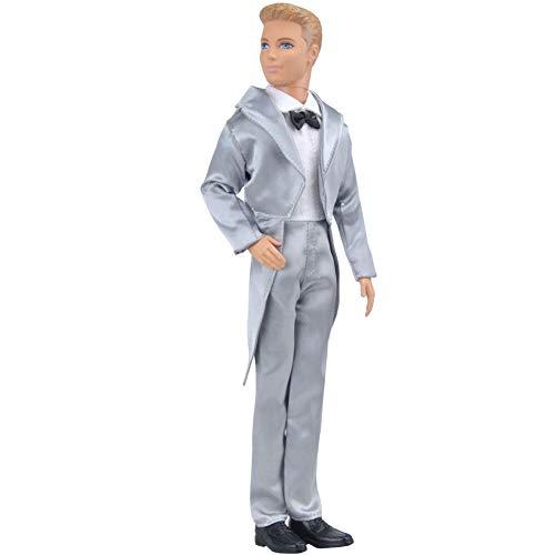 Redcolourful Kinder Kleidung Spielzeug Western-Stil Anzug Hochzeit Anzug für 32cm Ken Puppe Silver Tuxedo Suitable for 32CM Dolls for Toys Gifts
