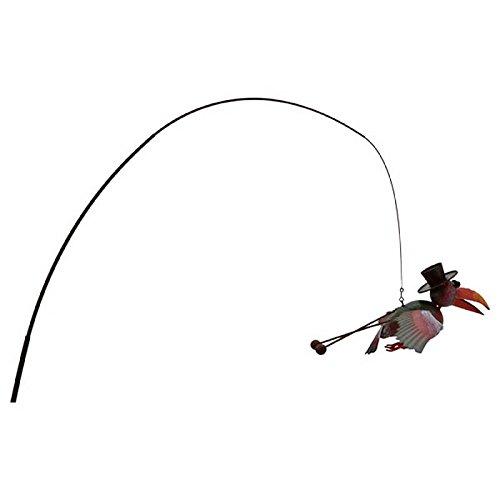 L'Héritier Du Temps Oiseau Corbeau Suspendu Pic de Jardin Style Canne à Pêche Mobile Déco Extérieur 34x90x200cm