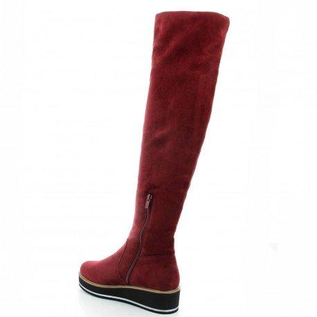 Ideal Shoes - Cuissardes effet daim avec semelle compensée Isabela Rouge