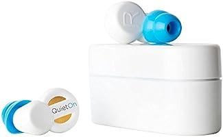 QuietOn Bouchons d'Oreilles Écouteurs Intra-Auriculaires Rechargeables avec Réduction Active du Bruit jusqu'à 40dB - Blanc/Bleu
