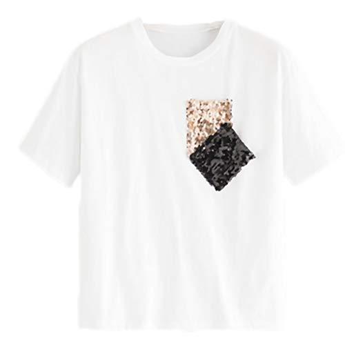 YWLINK Damen Freizeit Basis Kurze ÄRmel T-Shirt Tasche Mit Pailletten Lose Rundhals Tops Klassisch Sommer Pullover(Weiß,S) -