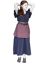 Robe médiévale avec tablier manches courtes coton pour dame noir