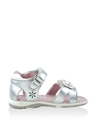 Sandale en cuir pour fille avec fleur - argent mtallique