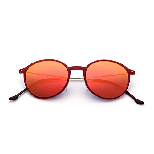 Rahmen der Sonnenbrille TR90 der niedlichen Frauen runde Form UV-Schutz-Sonnenbrille für das Fahren von Ferien-Strand-Sonnenbrille im Freien. Sonnenbrillen und flacher Spiegel ( Farbe : Red )