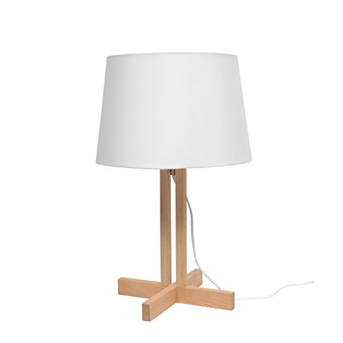 More Design WOODY-MM-NL Lampe à Poser 60 W E27 Blanc