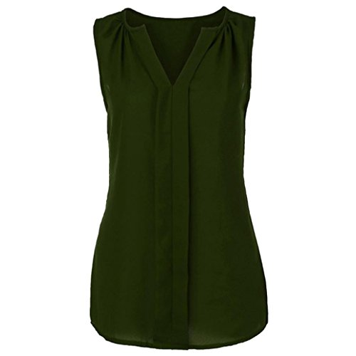 iHENGH Damen Solid Farbe Tank Top, Frauen Sommer Plus Size Weste Hemd Ärmellose Bluse Casual Vest Tops T-Shirt