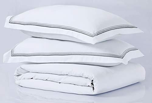 LinenZone Spannbettlaken aus ägyptischer Baumwolle, 400 Fadenzahl, weiß, 2 Embroidered Oxford Pillow Cases 50x75CM -