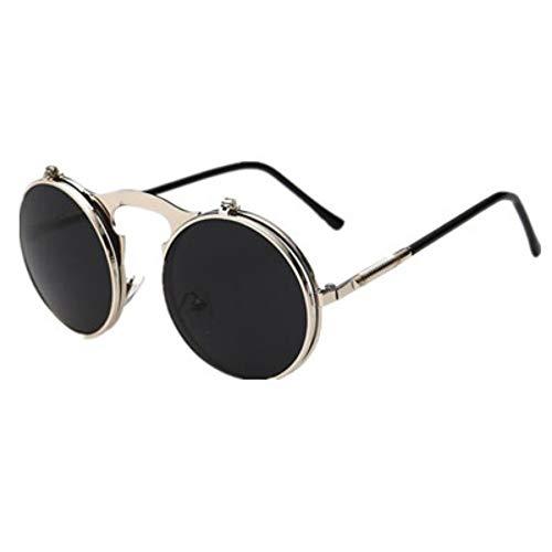 MJDABAOFA Männer Alte Runde Steampunk Silber Schwarz Sonnenbrille Männer Kleine Runde Klappbare Sonnenbrille Frauen Retro Metall Silber Uv400