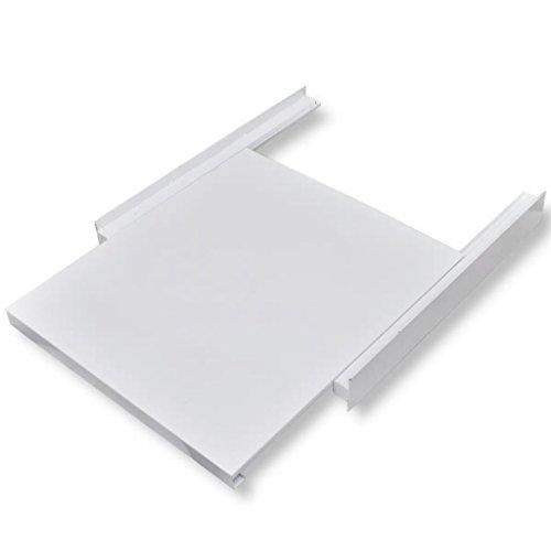 Nishore Kit d'empilage Kit de Superposition avec étagère coulissante pour la Machine à Laver 60 x 60 x 8 cm Blanc
