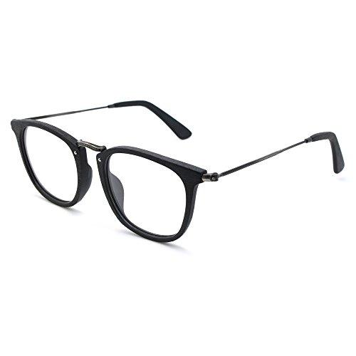 TIJN Vintage Nerd Brille Runde Brillen Rahmen optische Gläser mit Nicht verschreibungspflichtige Linse