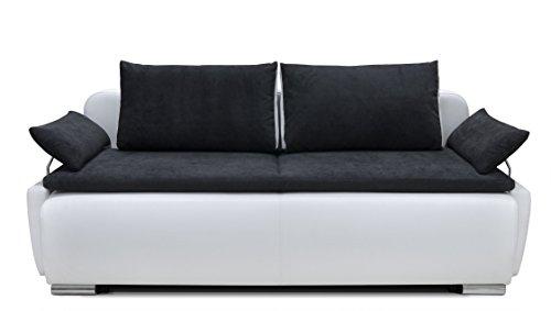 150397 Lucas Boxspring-/Schlafsofa, 105 x 224 x 97 cm, Materialmix PU Kunstleder weiß mit weichen Strukturstoff schwarz